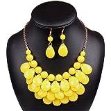 Qiyun (TM) Yellow Lucite Teardrop Bead Beaded Fringe Bib Statement Choker Necklace Earrings