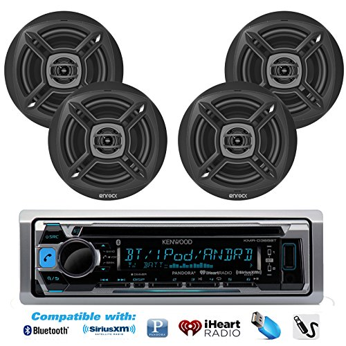 "New KMR-D365BT Kenwood Marine Boat Outdoor Bluetooth CD MP3 Player USB iPod iPhone Input Pandora AM/FM Receiver 4 X EnrockMarine 6.5"" Marine Waterpr"