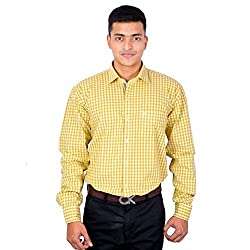 Lecarde Yellow Smart Casual 8165 Cotton Men Shirt