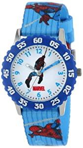 Marvel Comics Kids' W000105 Spider-Man Stainless Steel Time Teacher Watch