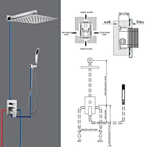 STARBATH Brushed Nickel Shower System with 12 Rain Shower and Handheld, Shower Faucet Rough-in Mixer Valve and Trim Included, Luxury Large Rainfall Shower Head Sets SS01FN (Color: Brushed Nickel)