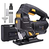 Jigsaw, TECCPO 6.5 Amp 3000SPM Jig Saw with Laser Guide, 6pcs Blades, Carrying Case, 78.74 Inches Cord Length, Scale Ruler, Pure Copper Motor, Variable Speed Dial (1-6) - TAJS01P (Color: Black)