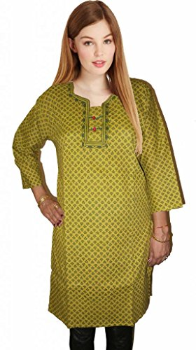 Mustard Kurti Studio Women Excellent Mustard Printed Cotton Kurti (Multicolor)