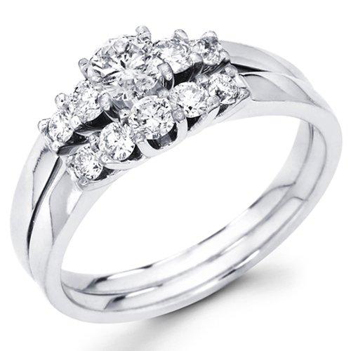 14K White Gold 5 Stone Round-cut Diamond Ladies