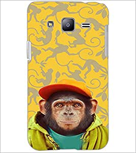 PrintDhaba Cute Monkey D-3653 Back Case Cover for SAMSUNG GALAXY J2 (Multi-Coloured)