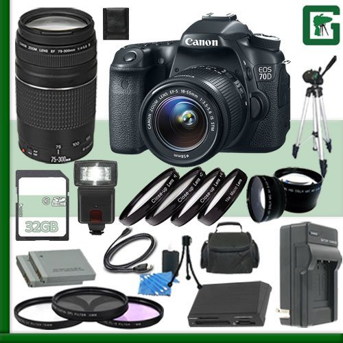 Canon EOS 70D Digital SLR Camera Kit with 18-55mm IS STM Lens and Canon EF 75-300mm III Lens + 32GB Green's Camera Package (Canon 7d Mark Ii Experience compare prices)