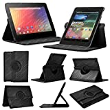 Stuff4 MR-NX7-L360-PAT-DMND-BK-STY-SP Diamond Designed Leather Smart Case with 360 Degree Rotating Swivel Action and Free Screen Protector/Stylus Touch Pen for 7 inch Google Nexus 7 - Black