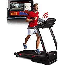 Sportstech F28 tapis roulant professionale con controllo di Smartphone App + Google Street View + cintura di impulso + 5 pollici MP3 AUX Bluetooth 5 CV 18 chilometri all'ora Formazione HRC - pieghevole - Cintura impulso incluso - certificato TÜV