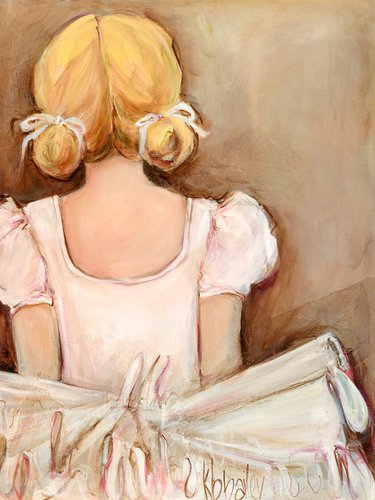 Oopsy Daisy Beautiful Ballerina- Blonde Stretched Canvas Wall Art by Kristina Bass-Bailey, 18 by 24-Inch