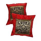 Rajrang Traditional Fruit Print Kantha Work Cotton Cushion Cover Set Of 2 Pcs