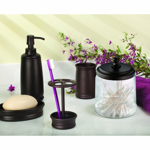 Interdesign york bathroom vanity glass apothecary jar for for Clear glass bathroom accessories