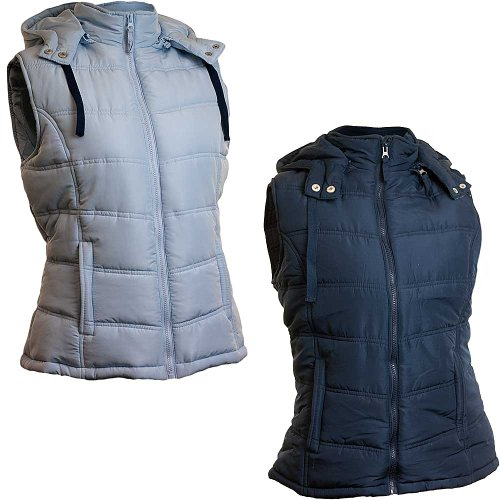 Dales Collection Ladies Zip Up Hooded Gilet – Pale Blue – Size 16