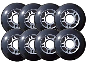 Outdoor HOCKEY WHEELS HiLo SET 76mm 80mm BLACK 82a HARD by Pro Stock