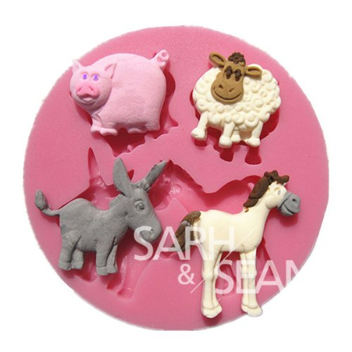 3D M0192 Cartoon Animals Horse Cattle Sheep Cake Molds Soap Chocolate Mould For The Kitchen Baking Cake Tool Diy front-134442
