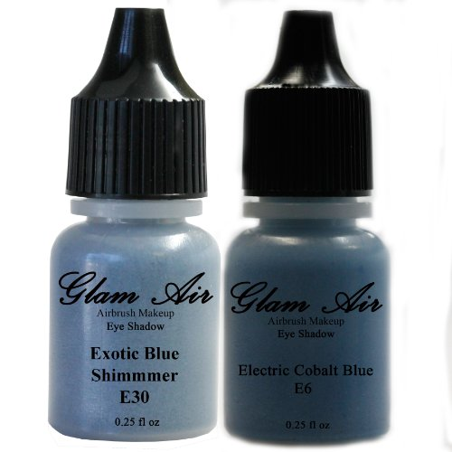 Set Of Two (2) Shades Of Glam Air Airbrush Eye Shadow Makeup E6 Electric Cobalt Blue And E30 Exotic Blue Shimmer Water-Based Formula Last All Day (For All Skin Types) 0.25Oz Bottles