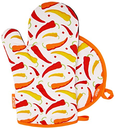 Chili Pepper Kitchen Oven Mitt + Pot Holder Set
