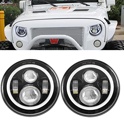 SUNPIE LED Headlights Bulb with Halo Angel Eye Ring & DRL & Turn Signal Lights for Jeep Wrangler JK LJ CJ Hummer H1 H2 (Angel Eyes Fog Light Kit compare prices)