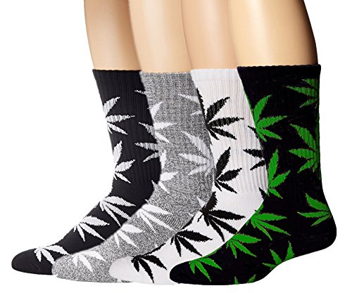 American Trends Men's Marijuana Weed Leaf Cotton High Socks(4 Pair-Mix Color2)