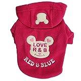 (ペットホーム)Pet Home ベット用品 ベット秋冬衣装 犬の服 かわいいマウスパターン衣装 秋冬服 帽子付き (ローズレッド, XS)