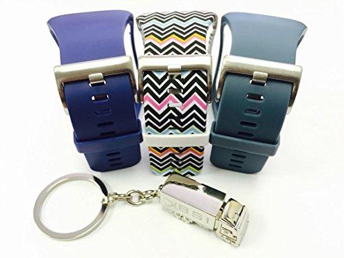 BSI Set 3 - 1 Navy Blue 1 Slate 1 Zigzag Rainbow Design Replacement Bands For Samsung Gear S Smart Watch Smartwatch Wireless + Free Silver Metal Truck Keychain with BSI(TM) LOGO