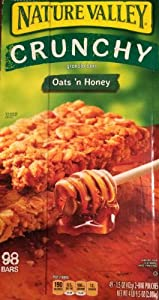 Nature Valley Crunchy Granola Bars Oats 'N Honey - 98 BARS - (49-1.5 oz 2 bar pouches) (4 LB 9.5 OZ)