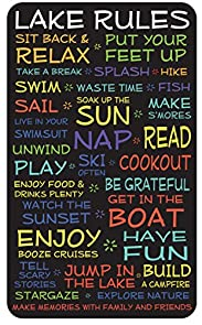 Lake Rules Sign- Black - 18 x 30 - Makes a Great Decoration, Wall Art, Gift, Decor in Any Beach House, Cabin, Cottage, Home, or Lodge. Made in USA.