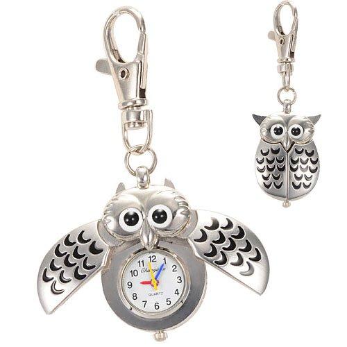 Búho de plata con forma de llavero colgante cuarzo del reloj del regalo