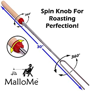 MalloMe Marshmallow Roasting Sticks Set of 10 Telescoping Rotating Smores Skewers & Hot Dog Fork 30 Inch Kids Camping Campfire Fire Pit Accessories | FREE Pouch, 10 Bamboo & Marshmallow Sticks Ebook from MalloMe