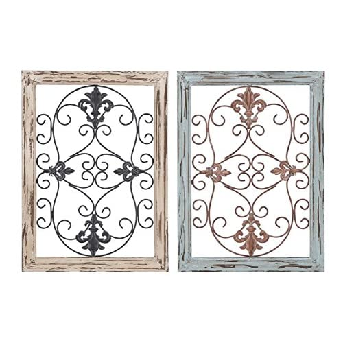 Deco 79 Wood Metal Wall Panel, 2 Assorted, 16 by 22""