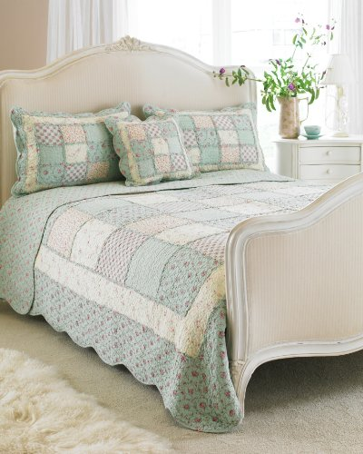 Avignon Bedspread Colour: Duck Egg, Size: Double