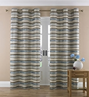 Chenille Striped Eyelet Curtain