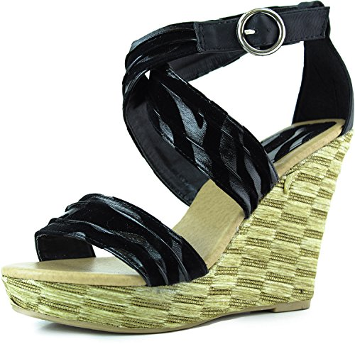 Women'S Top Moda Lindy-38 Black Black Stripes Strappy Wedge Sandals Shoes, Black Black, 6.5