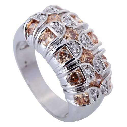Yaziind Women'S Ring Round Cut Big Stone Light Brown White Cubic Zirconia Cz Us Size 8