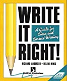 Write It Right!: A Guide for Clear and Correct Writing (Self-Study Sourcebook) (1878542303) by Richard Andersen
