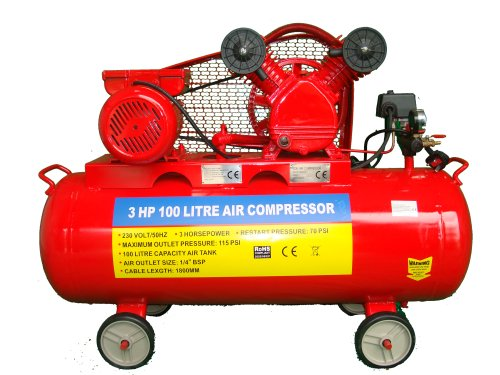 Professional 100L Ltr Litre 22 Gallon Air Compressor 3 HP 230V Belt Driven Twin Cylinder