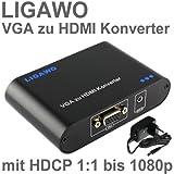 Ligawo ® VGA zu HDMI Konverter - Pc / Laptop mit VGA zu HDMI Tv, Beamer