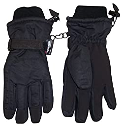 N\'Ice Caps Adults Unisex Extreme Cold Weather 80 Gram Thinsulate Waterproof Ski Gloves (Large/X-Large, Black)