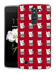 """Cute Kitty Expression Printed Designer Mobile Back Cover For """"LG K7"""" By Humor Gang (3D, Matte Finish, Premium Quality, Protective Snap On Slim Hard Phone Case, Multi Color)"""