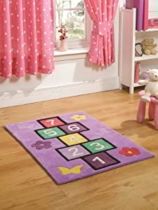 tapis de jeu violet pour fille motif marelle 70 x 100cm. Black Bedroom Furniture Sets. Home Design Ideas