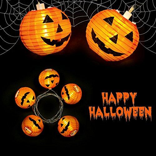 "Catena Luminosa con 5 Lanterne di Carta ""Zucca di Halloween"" a LED Bianco Caldo, 160 cm, Alimentazione a Batteria"