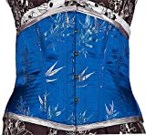 Silver Bamboo on this Blue Satin Corset Size 35