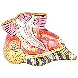 Rajgharana Handicrafts Multi Color Metal Meenakari Resting Ganesha - (5 Cm X 8 Cm)