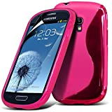 Samsung i8190 S3 Mini Hot Pink S Line Wave Gel Case Skin Cover With LCD Screen Protector Guard, Polishing Cloth by Fone-Case