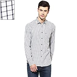 Turtle Men's Grey Mélange Checkered Slim Fit Casual Shirt