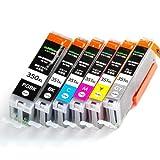 BCI-351XL(BK/C/M/Y/GY)+BCI-350XLPGBK顔料ブラック(6色マルチパック大容量)キヤノン[Canon]互換インクカートリッジ【インク革命製】
