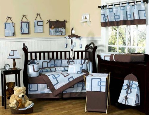 Blue and Brown Geo Modern Baby Bedding 9pc Crib Set