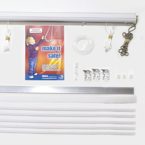 British Blinds Ready Made Chain Operated Deluxe Roman Blind Kit Width 1200 mm Chain Colour White (Plastic)