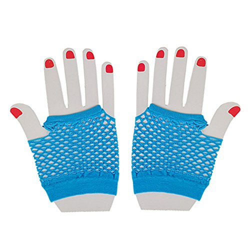 Neon Fishnet Fingerless Wrist Gloves Party Accessory - Neon Blue - 1