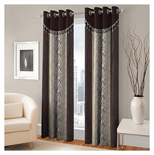 FASHIONFAB 2 Piece Polyester Window Curtain – Brown