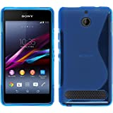 Coque en Silicone pour Sony Xperia E1 - S-Style bleu - Cover PhoneNatic Cubierta + films de protection
